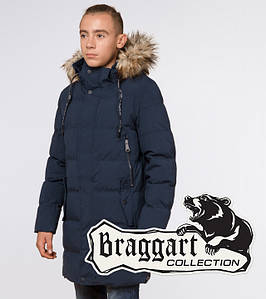 Молодежная куртка зимняя 25170 темно-синяя