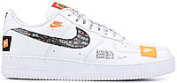 Женские кроссовки Nike Air Force 1 '07 Premium Just Do It White Найк Лунар Форс низкие белые