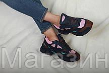 Женские кроссовки Adidas x Raf Simons Ozweego 2 Dark Marine Адидас Раф Симонс Озвиго синие, фото 3