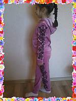 Детский велюровый спортивный костюм с рисунком по бокам
