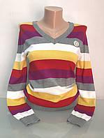 Джемпер женский вырез мыс цветной полосатый, фото 1