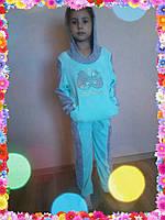 Детский велюровый спортивный костюм с капюшоном и камнями, фото 1