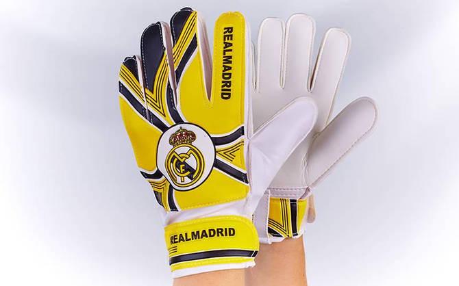 Рукавички воротарські юніорські FB-0029-09 REAL MADRID (PVC, розмір 5-7, жовтий-чорний-білий)