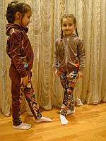 Детский велюровый спортивный костюм с цветами, фото 1