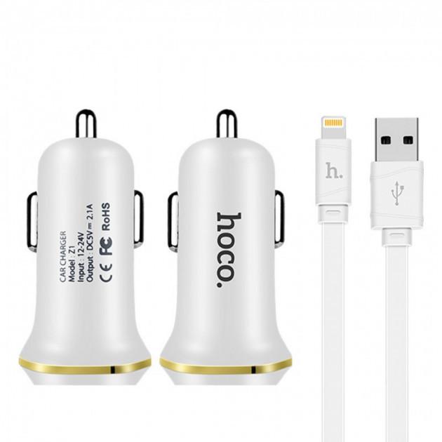 АЗУ авто зарядка HOCO 2USB + кабель iPhone Z1