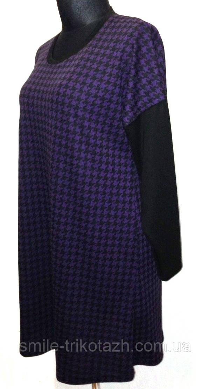 Женское платье-туника,со спущенным комбинированным рукавом