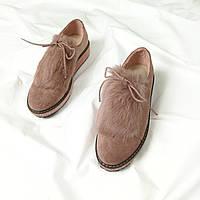 Туфлі Vices з хутром кролика пудра еко-замш