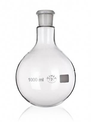 Колба лабораторная круглодонная 25 мл со шлифом, стекло, фото 2