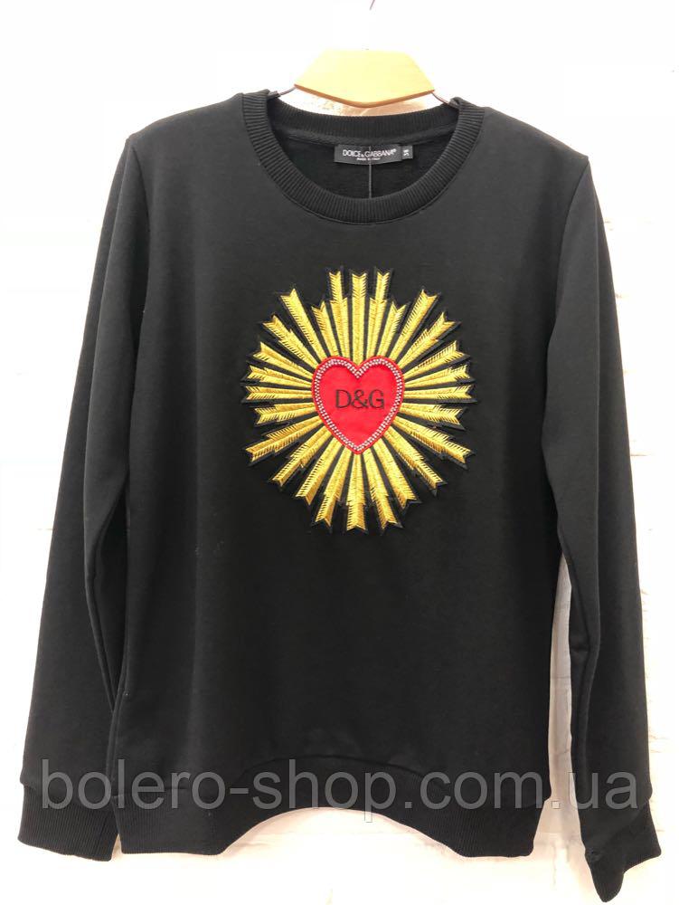 Кофта свитшот женская чёрная с вышивкой Dolce Gabbana