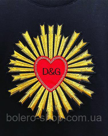 Кофта свитшот женская чёрная с вышивкой Dolce Gabbana, фото 2