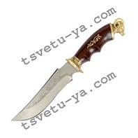 Нож охотничий Спутник Архар с рисунком (ручная работа Украина), эксклюзивный, подарочный, кожаные ножны