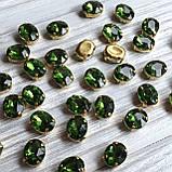 Овал 8х10 мм. Зелений (зеленый). Стрази в цапах (колір золотий), фото 2