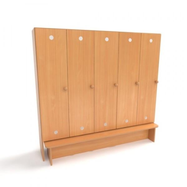 Детские секционные шкафы и вешалки для раздевалки в садик
