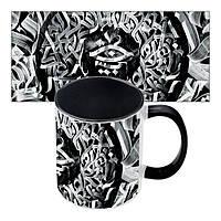 Подарочная кружка черно-белая с принтом в египетским стиле Каллиграфия №3