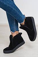 Высокие слипоны ботинки кеды демисезонные натуральная замша цвет черный подошва черная акция недели