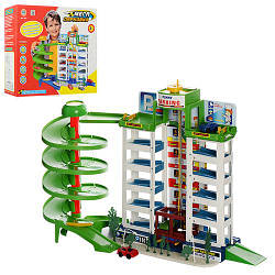 Гараж922 детская игрушечный,4 машинки, в коробке, мега парковка, 6 уровней, лифт,39,5-34-5-10 см