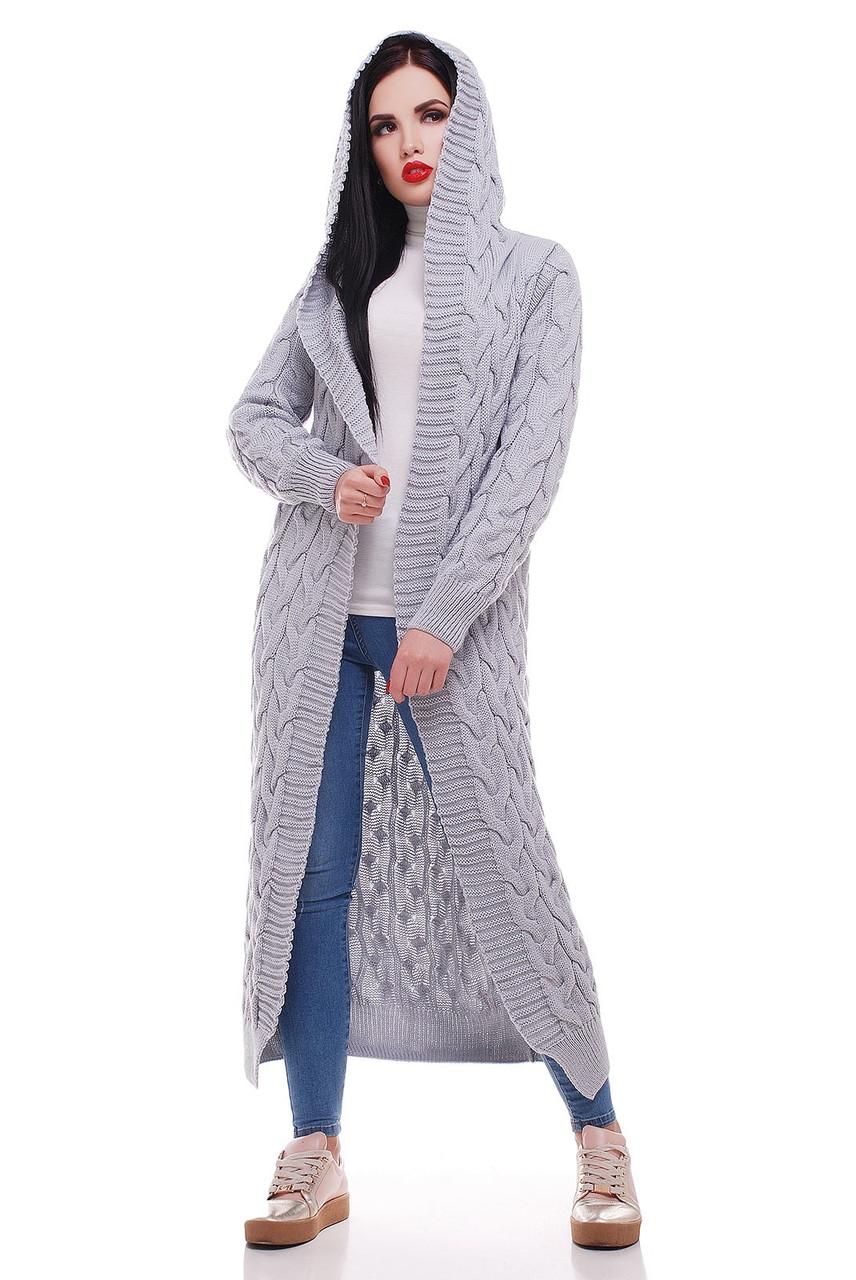 длинный вязаный кардиган с капюшоном на зиму серый р 42 52 купить