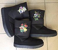 Сапоги женские зимние оптом цветок ассорти Киев, фото 1