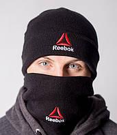 Шапка черная мужская теплая модная Reebok Рибок