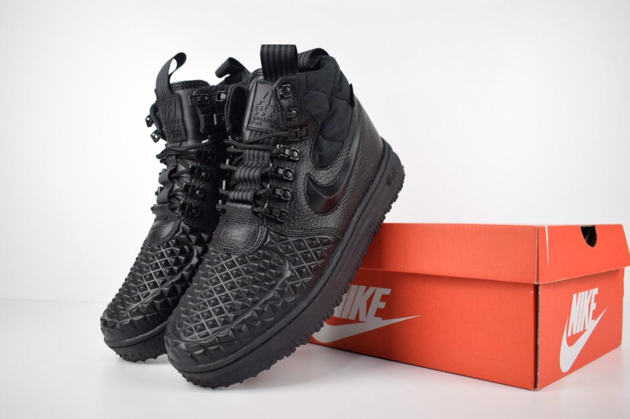 71189f37d286 Мужские зимние ботинки (кроссовки) Nike Lunar Force 1 Duckboot 17 кожаные с  мехом черные топ реплика ААА+