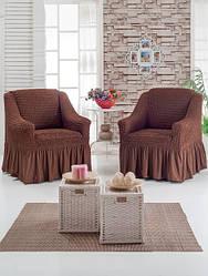 Натяжна чохол на крісло з оборкою, Туреччина з оборкою (2 шт)