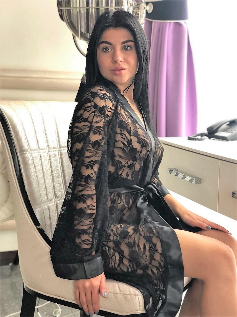 Черный гипюровый женский халат ТМ Exclusive