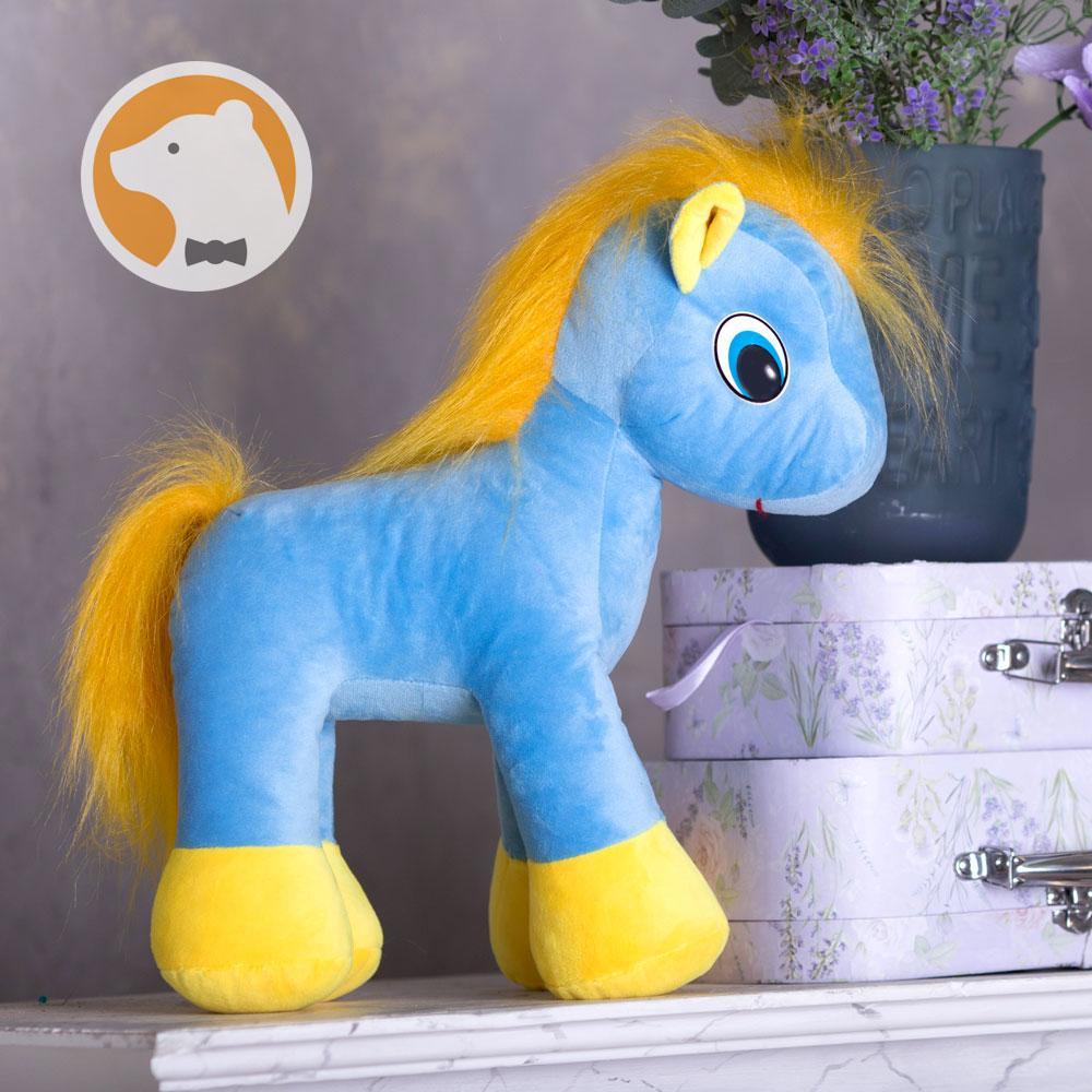 Мягкая игрушка Пони, голубая, 37 см