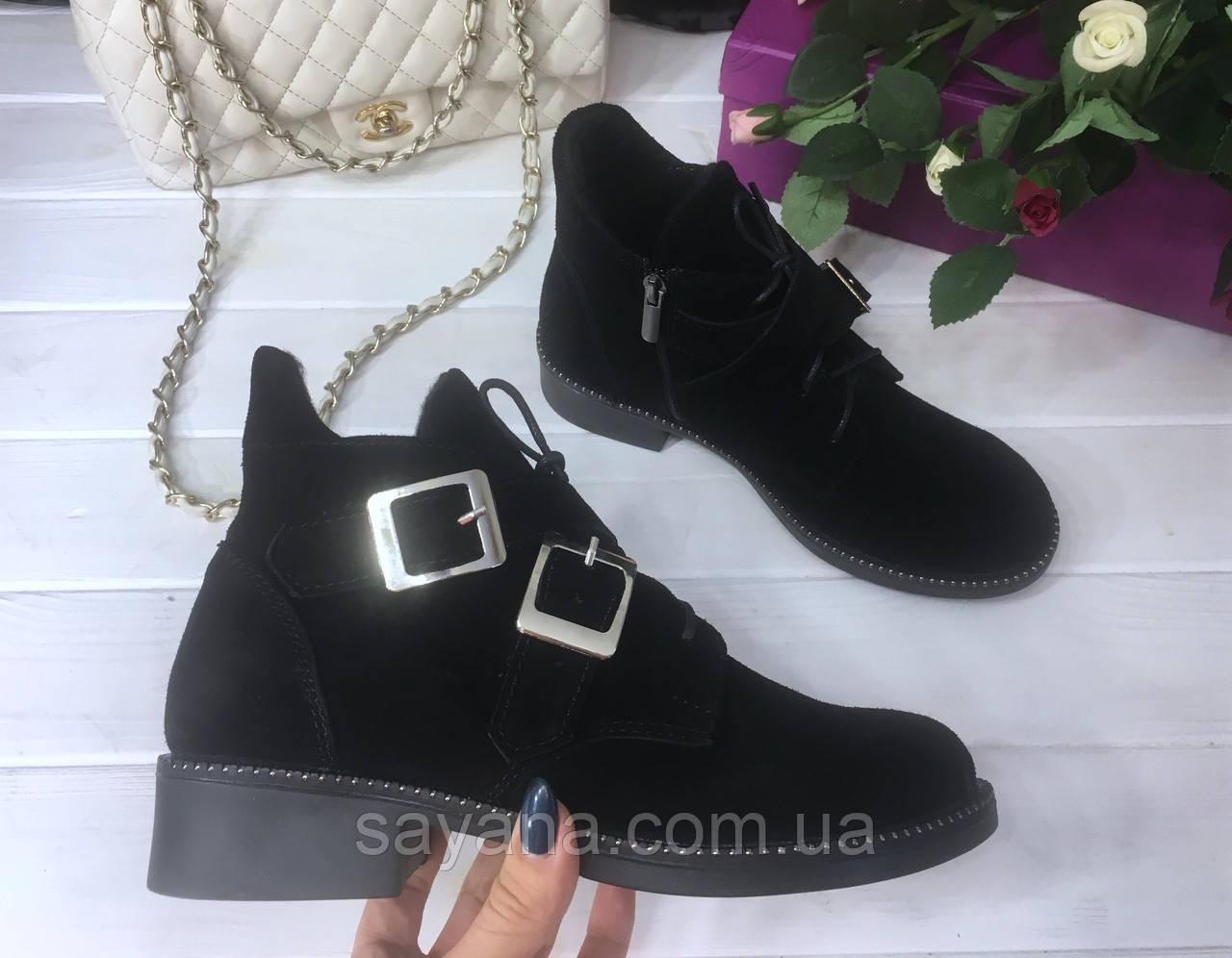 7fcebd148 Женские замшевые ботинки на молнии и со шнуровкой с декором. ДС-7-1018 (927)