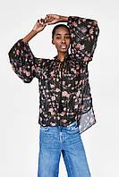 Блуза Zara с цветочным принтом. Оригинал, Испания., фото 1