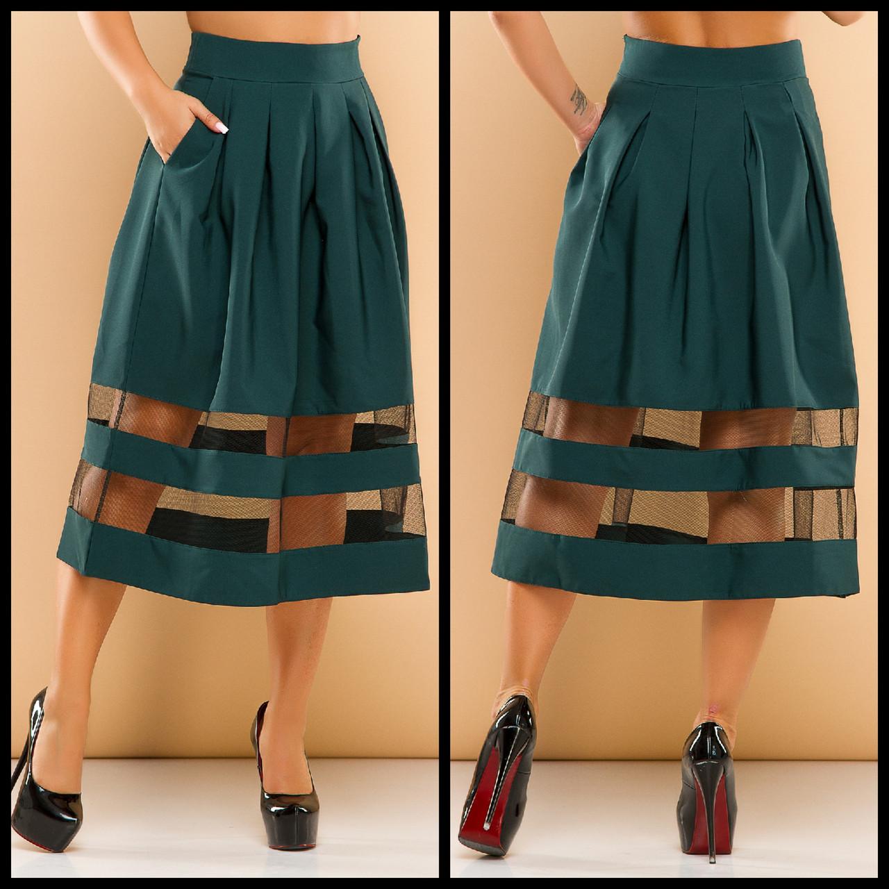 Удлиненная юбка-колокол с завышенной талией