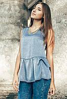 Голубая нарядная блуза с баской JUNONA