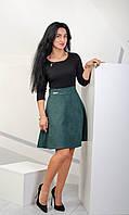 Комбинированное женское платье из трикотажа и замши черный+зеленый размер 42,44,46,48