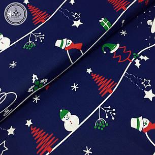 """Польская хлопковая ткань """"снеговики, елки на синем"""", фото 2"""