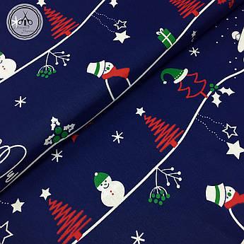 """Польская хлопковая ткань """"снеговики, елки на синем"""""""