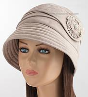 Зимняя женская шляпа клош бежевого цвета