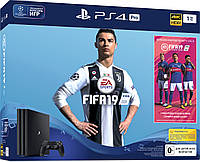 Sony PlayStation 4 Pro 1Tb (Black) + FIFA 2019, фото 1