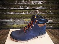 Ботинки в стиле Timberland, мужские зимние, очень теплые, натуральный мех и кожа (темно-синие)