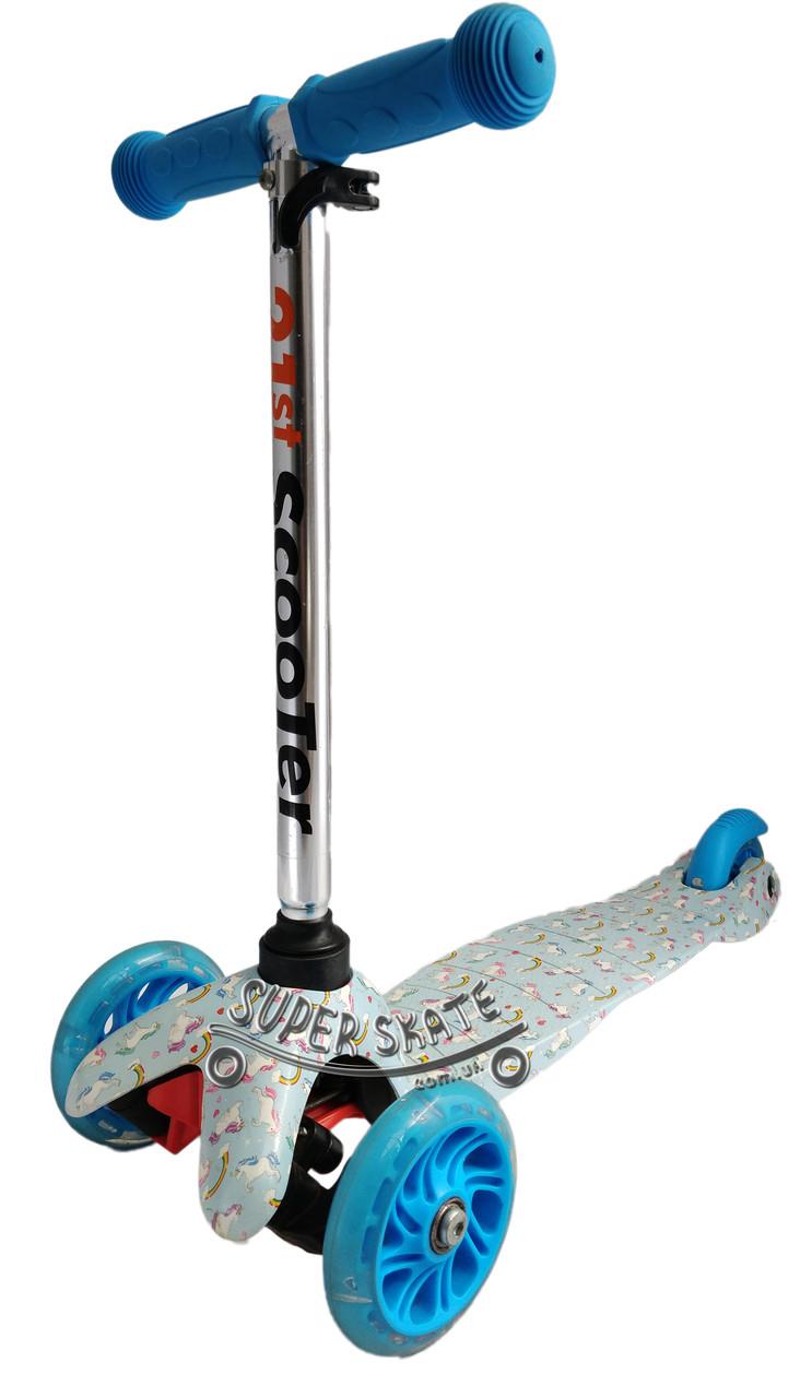 Трехколесный детский самокат 21Scooter - Mini Print - Единорог детский