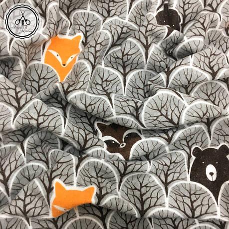 """Фланель """"мишки, еноты, лисички в сером лесу"""", фото 2"""