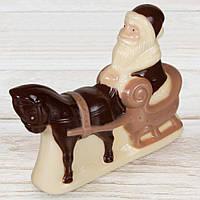 """Шоколадная фигура """"Дед Мороз на санях"""", КЛАССИЧЕСКОЕ сырье. Размер: 117х122х37мм, вес 160г, фото 1"""