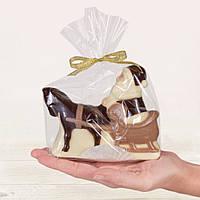 "Шоколадная фигура ""Дед Мороз на санях"", ЭЛИТНОЕ сырье. Размер: 117х122х37мм, вес 160г, фото 1"