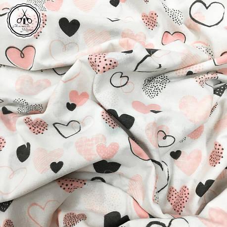 """Фланель """"сердца черно-розовые на белом"""", фото 2"""