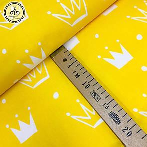 """Польская хлопковая ткань """"короны белые на жёлтом"""", фото 2"""