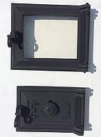 Дверца для печи и барбекю 230*275 мм, дверца печная со стеклом, фото 1