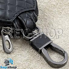 Ключница карманная (кожаная, черная, с тиснением, с карабином) логотип авто Chevrolet (Шевроле) , фото 3