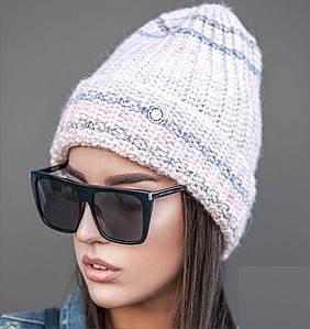 Женская зимняя вязаная шапка с подворотом