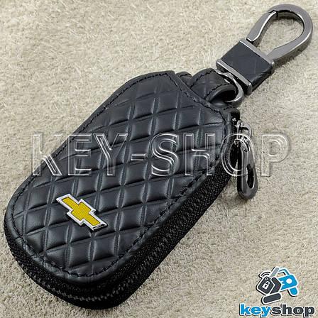 Ключниця кишенькова (шкіряна, чорна, з тисненням, з карабіном) логотип авто Chevrolet (Шевроле), фото 2