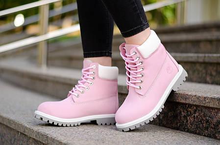 fc096c4645c5 Женские ботинки Timberland Pink White на меху топ реплика, фото 2