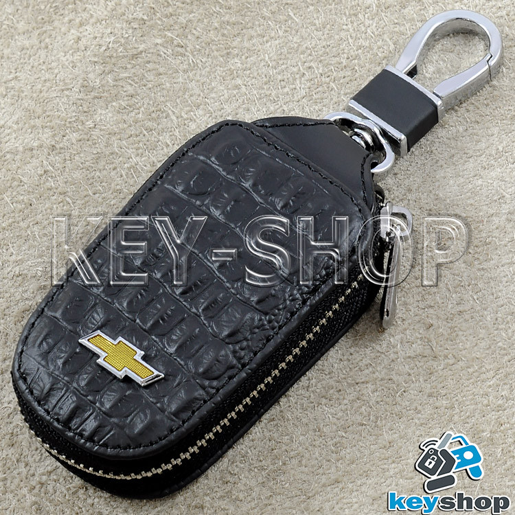 Ключница карманная (кожаная, черная, с тиснением, с карабином) логотип авто Chevrolet (Шевроле)
