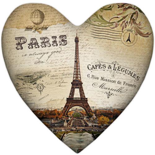 Подушка сердце Paris 37х37 см (4PS_15L074)